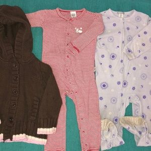 2 PJ's and one sweater size 2T/24 mos